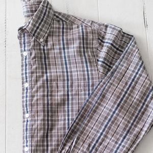 Sonoma Brown and Blue Plaid Long Sleeve Shirt